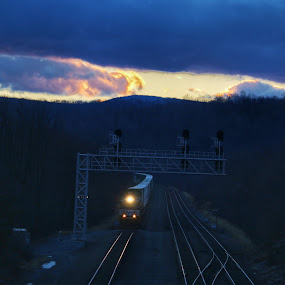 Sunset train by Kelly Bowers - Transportation Trains ( #train #rails #sunset #light #railroad )