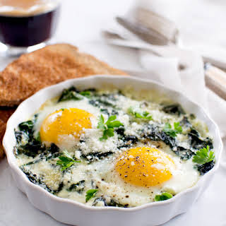 Baked Eggs with Spinach and Swiss Chard.