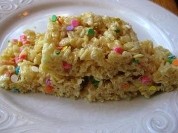 Cake Batter Rice Krispy Treats! Recipe
