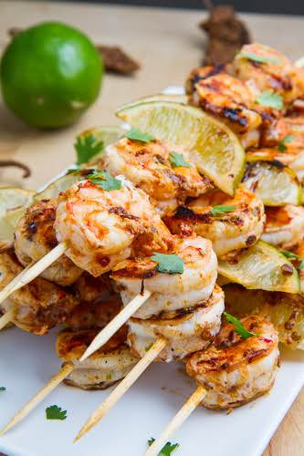 """Chipotle Lime Grilled Shrimp""""he shrimp is marinated in a simple mixture of..."""