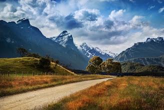 Photo: The Road to Paradise, NZ  Here's another place that Tom and I went a few days ago. After you pass Glenorchy, the roads turn to dirt, but then start weaving through some of the most beautiful mountains in the world...