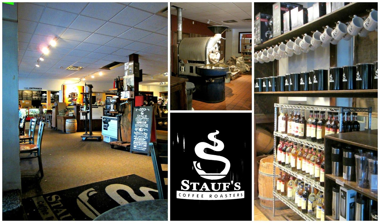 a few different shots of Stauf's Coffee Roasters interior