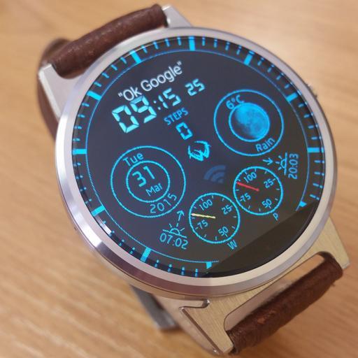 digital round watch face