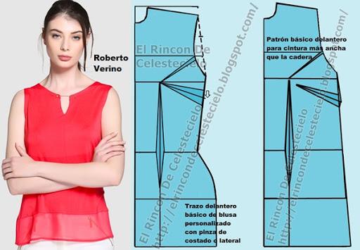 Patrón básico delantero personalizado de blusa (A medida o anatómico) (Actualizado)