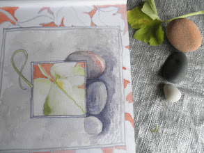 Photo: August 26, 2012: Detail squash blossom and Lake Superior stones. Watercolor. Iron River, WI.