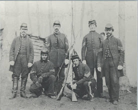 Photo: Sergeants of the 3rd Michigan Infantry.  Wallace William DICKINSON is squatting on the left.