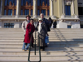 Photo: We have bumped into a pair of amiable Scandinavian women travelers in both Nice and Entrevaux, and here they take our picture on the Opera steps.