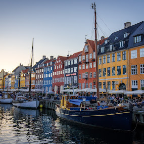 Nyhavn Copenhagen by Justin Orr - City,  Street & Park  Historic Districts ( water, copenhagen, sunset, nyhavn, denmark, sailboat, canal )