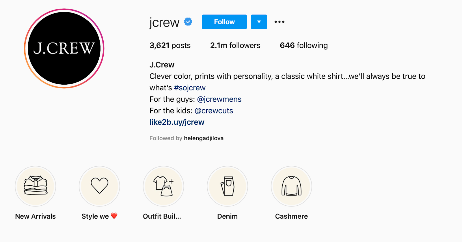 Example of JCrew's story highlights on their Instagram profile