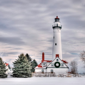 Wind Point Christmas by Jebark Fineartphotography - Landscapes Travel ( garyfonglandscapes, hdr, holiday photo contest, photocontest,  )