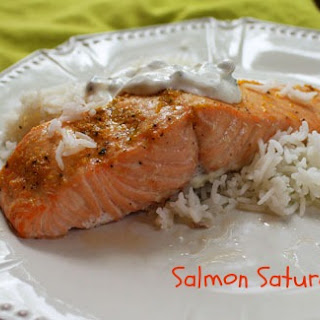Orange Roasted Salmon with Yogurt Caper Sauce