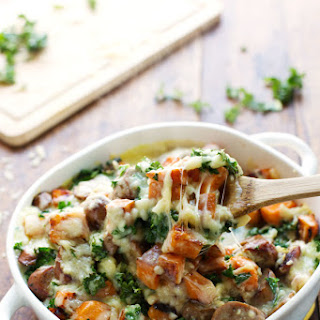 Sweet Potato, Kale, and Sausage Bake with White Cheese Sauce
