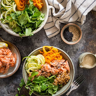 Salmon and Watercress Grain Bowls with Sweet Potatoes and Zucchini Noodles.