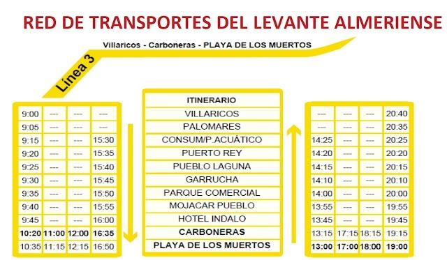 Horarios de la línea del Levante almeriese hasta el 31 de agosto..