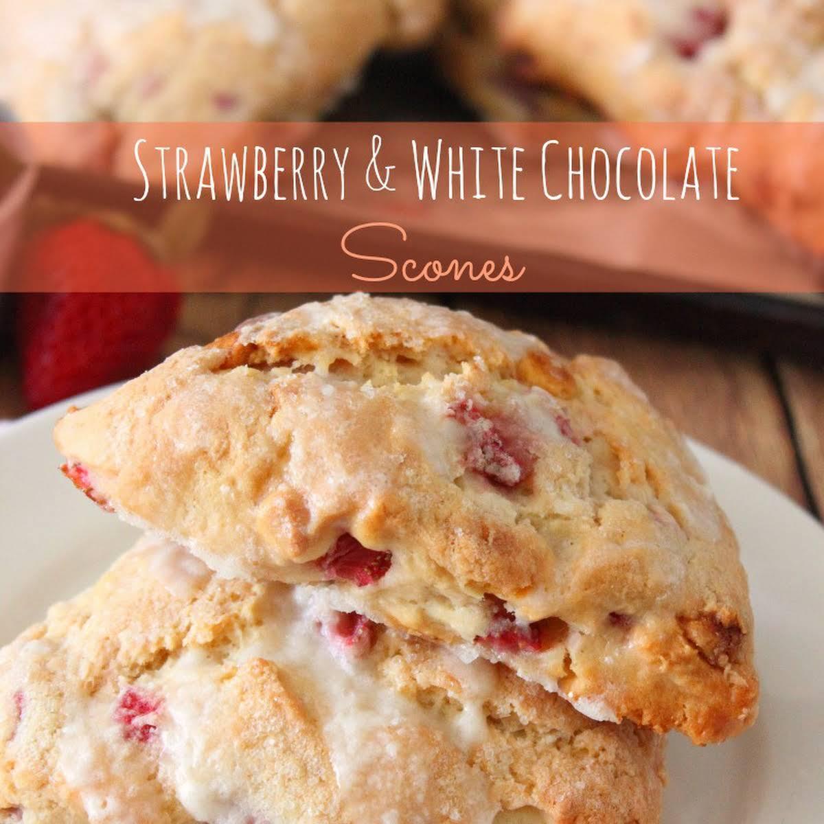 Strawberry White Chocolate Scones