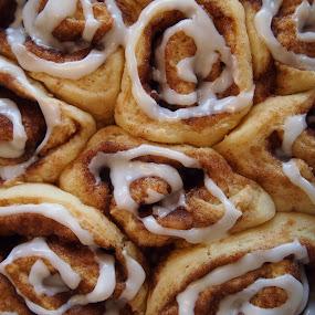 Cinnamon Buns by Joe Spandrusyszyn - Food & Drink Cooking & Baking ( roll, sweet, cinnamon, frosting, cinnamon roll, bun, breakfast, cinnamon bun, , candy, dessert )