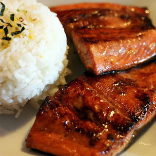 Soy Sauce And Sugar Salmon With White Rice.