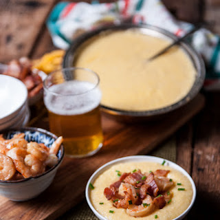 Bacon Beer Shrimp with Beer Cheese Grits