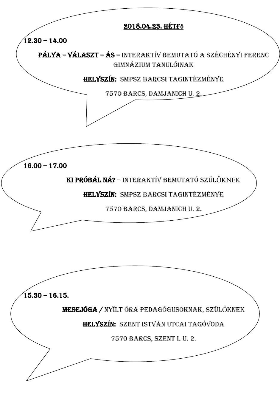 Szakszolgálati Hetek Barcs 2018