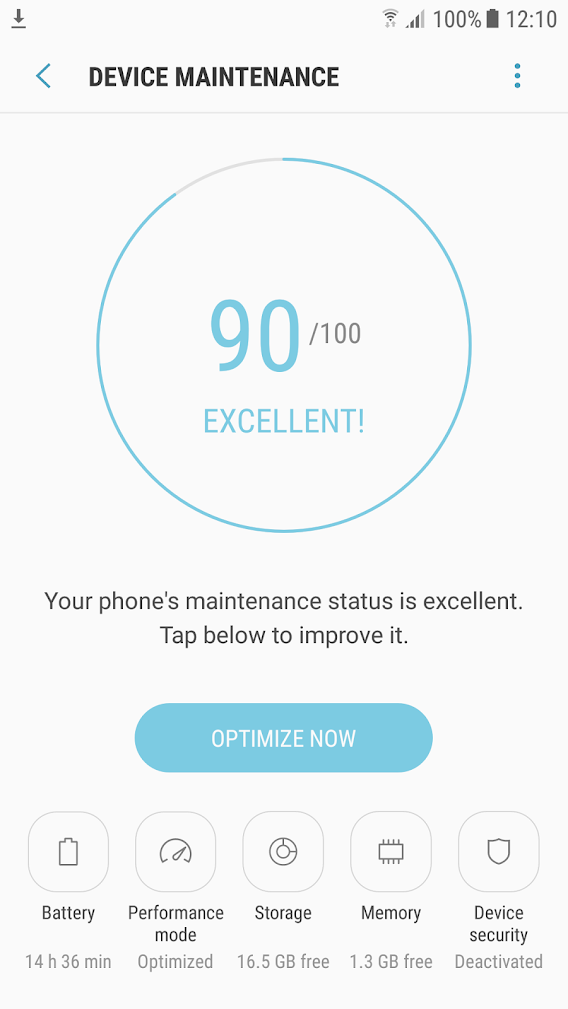 Smartphone Samsung - Device Maintenance