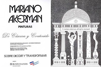 "Photo: ""Mariano Akerman: Pinturas - De cáscara y contenido"" (Paintings - Of Shell and Contents), solo-exhibition poster to Universidad de Belgrano, issued by Banco Francés del Río de la Plata, July-August 1988