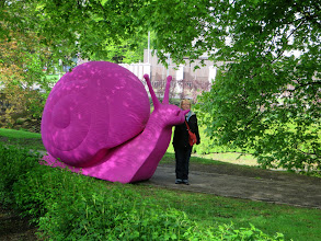 Photo: Laurie and a big pink snail