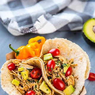 Easiest Slow Cooker Verde Chicken Tacos.