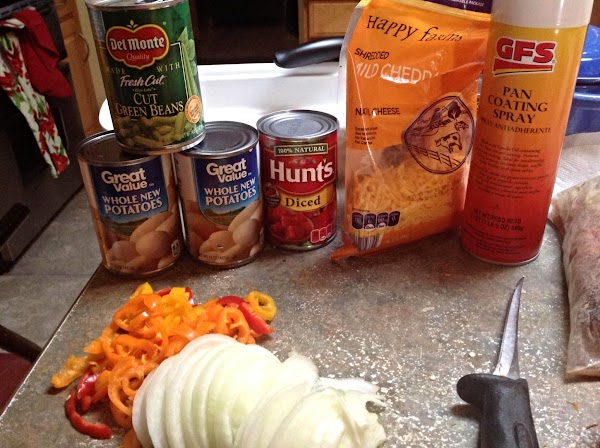 These are most of the ingredients you will need to make the casserole.