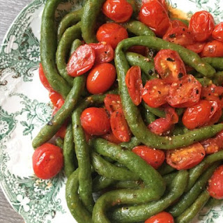 Spinach Pici Pasta with Cherry Tomatoes.