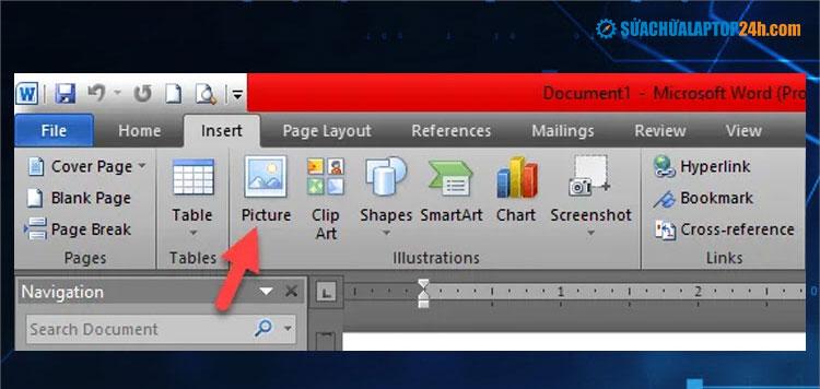 Nhấn để chèn hình ảnh vào tài liệu Word