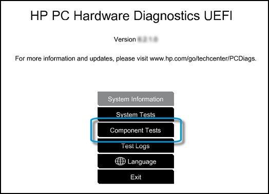HP PC Hardware Diagnostic UEFI screen