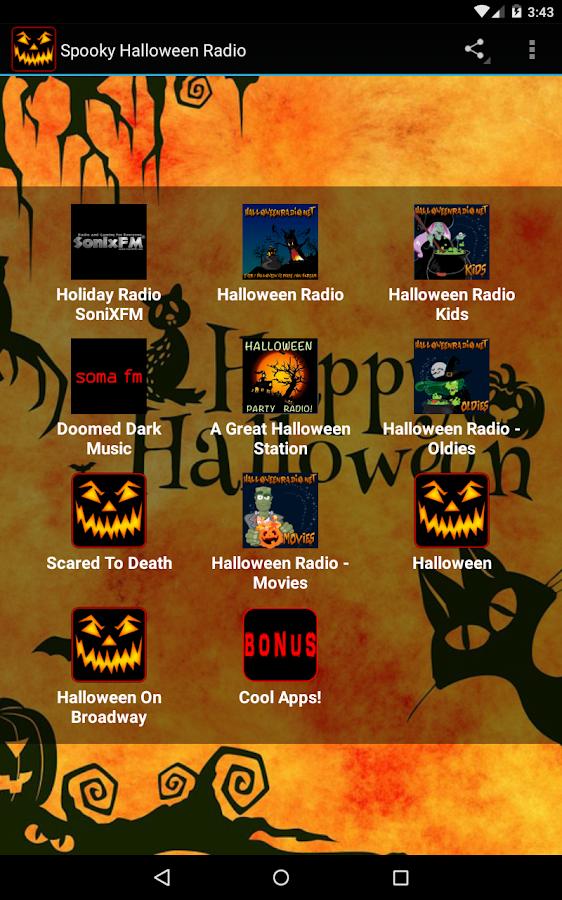 spooky halloween radio screenshot - Kids Halloween Radio