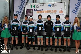 Photo: 11-03-2018: Wielrennen: Dorpenomloop: RucphenGert-Jan Bosman, Henk Wildeman, Stan Wijkel, Mats Boeve, Rochez Harbers, Koen Paalman, Per Wiggers (Volker Wessels Merckx Cycling)