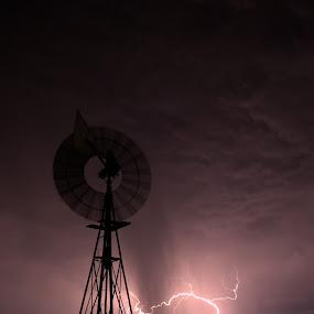Light them up by Chrismari Van Der Westhuizen - Landscapes Weather ( clouds, lightning, south africa, weather, landscape, storm, rain, windmill )
