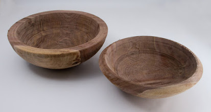 "Photo: BILL LONG – 10.5"" x 4"" & 9.5"" x 3"" Bowls turned from the same log [Walnut]"