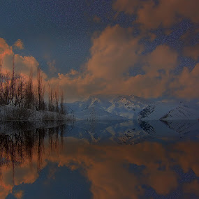 Burning clouds by Fereshteh Molavi - Landscapes Mountains & Hills ( clouds, mounts, snow, trees, reflctions )