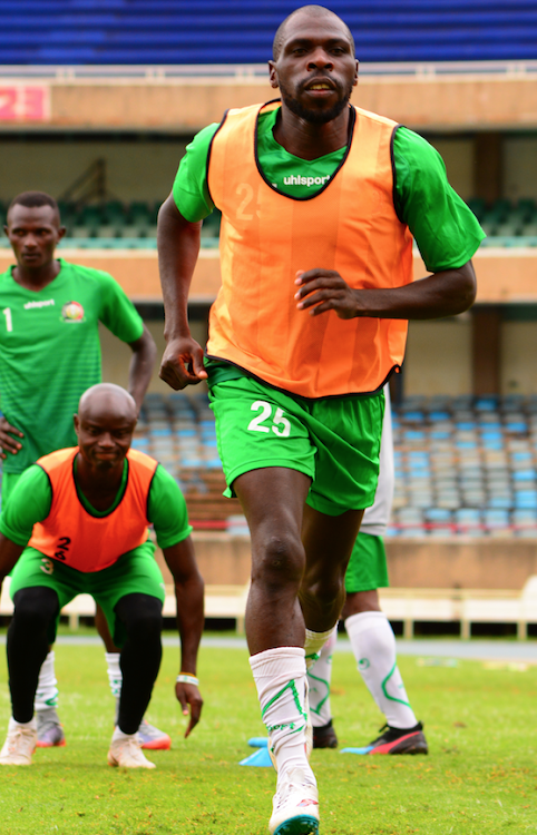 Harambee Stars and Simba SC defender Joash Onyango during a training session