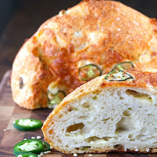 No Knead Jalapeño Cheesy Dutch Oven Bread.