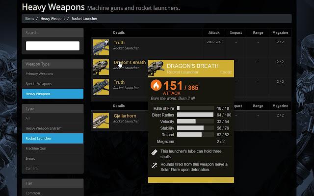Destiny Database Tooltips