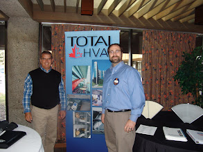 Photo: Ed Cassidy and Steve Moons manned a spledid Total HVAC tabletop display