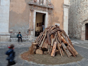 Photo: Christmas Eve bonfire prepared 3 days early, largo Sta Caterina, Taormina