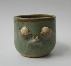 "Photo: Mug 8 * fat lip * 3"" tall. *  Holds <1 cup"