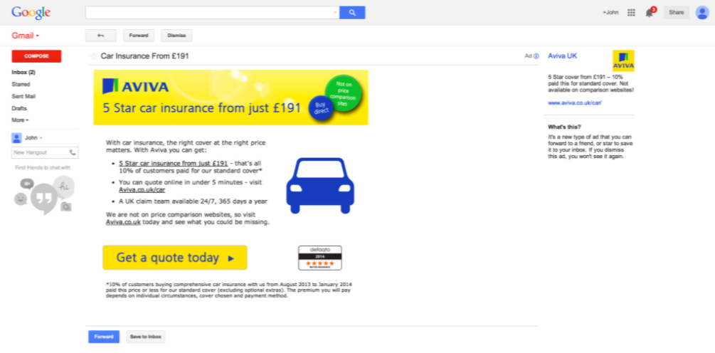 expanded gmail advert