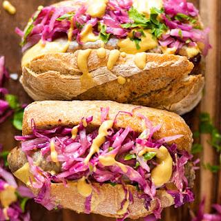 German Bratwurst hot dog with red cabbage sauerkraut.