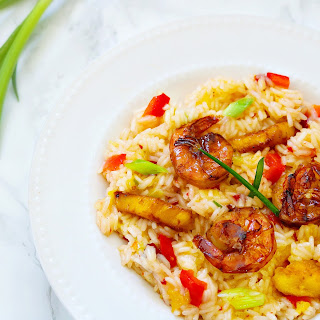 Pineapple Grilled Shrimp Over Jasmine Rice.