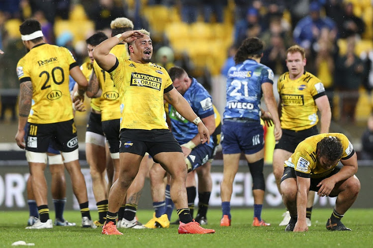 Asafo Aumua of the Hurricanes celebrates the win during the round six Super Rugby Aotearoa match between the Hurricanes and the Blues at Sky Stadium in Wellington, New Zealand, on July 18.