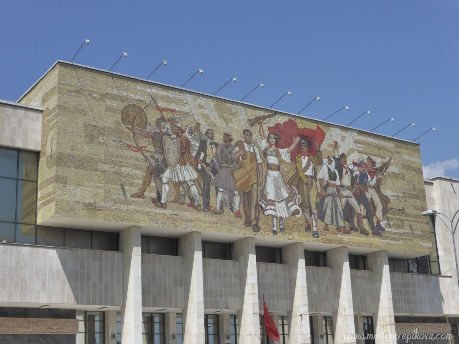 National Historical Museum with a mosaic above the entrance, Tirana, Albania