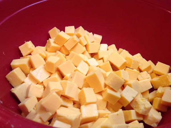 Cube the Velveeta Cheese into medium size cubes and set aside till needed.