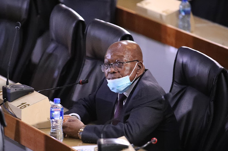 Former president Jacob Zuma at the state capture commission in Johannesburg. Picture: VELI NHALPO