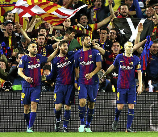 Parade of superstars: From left, Jordi Alba, Lionel Messi, Luis Suarez, and captain Andrés Iniesta will dazzle local fans when Barcelona take on Mamelodi Sundowns in a friendly international at FNB Stadium on Wednesday. Picture: REUTERS